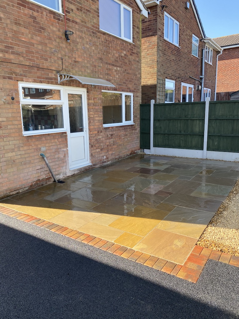 Indian Sandstone patio completed in Talkes Pitt